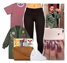"""""""✨"""" by melaninmonroee ❤ liked on Polyvore featuring WithChic, MICHAEL Michael Kors and adidas Originals"""