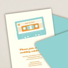 Mix tape wedding invitation - see more ideas on http://themerrybride.org/2014/04/04/friday-finds-from-etsy-com-the-quirky-edition/