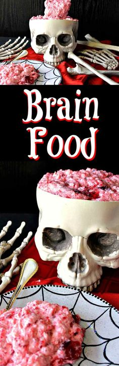 """Can you wrap your """"head"""" around eating gory brain food jello for Halloween? Try not to """"think"""" about it too much, and you'll be just fine. *insert evil laughter here* - Kudos Kitchen by Renee"""