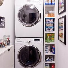 Stacked Washer Dryer, Transitional, laundry room, Lowes