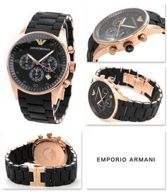 045f39c54b5 Emporio Armani Men s Black and Gold Chronograph Dial Watch