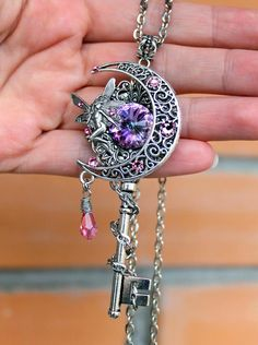 Fantasy key pink key fairy key moon key crystal key swarovski key - June 08 2019 at Fairy Jewelry, Key Jewelry, Magical Jewelry, Fantasy Jewelry, Art Deco Jewelry, Sea Glass Jewelry, Cute Jewelry, Jewelery, Jewelry Accessories