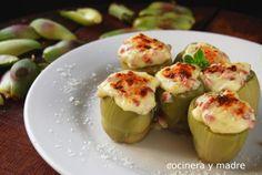Deliciosas alcachofas rellenas con jamón, una receta casera y fácil de una verdura muy saludable, un plato muy apetitoso y sabroso perfecto como entrante, .. Relleno, Eggplant, Baked Potato, Sprouts, Tapas, Zucchini, Healthy Recipes, Healthy Food, Potatoes