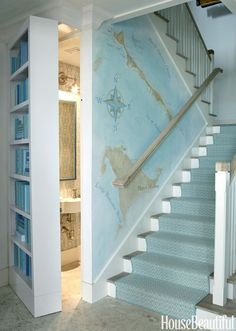 beach house stairway + secret bathroom