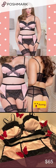"""2x PINK BLACK PLUS SIZE 3pc lingerie set Pink and black lurex scallop LACE, microfiber and mesh two pc bra and garter belt set!   Underwire cups, scallop LACE trim, hook and eye back closures, removable garters and matching LACE g-string   Thigh highs not included but can be for $11  There is a darker version for all the gray black and silver dark color lovers!   1x: 16-18, bust 42""""-45"""", waist 34""""-37"""", hip 44""""-46""""  2x: 20-22, bust 46""""-48"""", waist 38""""-40"""", hip: 48""""-50""""    Plus size sleepwear…"""