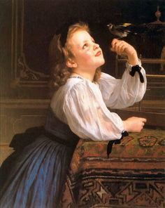 L'oiseau chéri-William Adolphe Bouguereau (1825 – 1905, French)