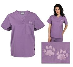 Purple Paw Plum Scrub Top - Helps the ASPCA  #AnimalRescue #Embroidered