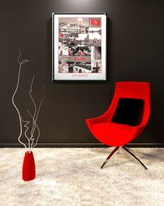 Très belle Balade à Toulouse en rouge & noir ! Mosaïque de photos de Toulouse reproduites sur un poster de belle qualité. Format 40x50cm. Imprimé en France.
