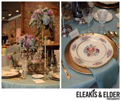 Wedding Table Design with tall flower arrangement and vintage plates