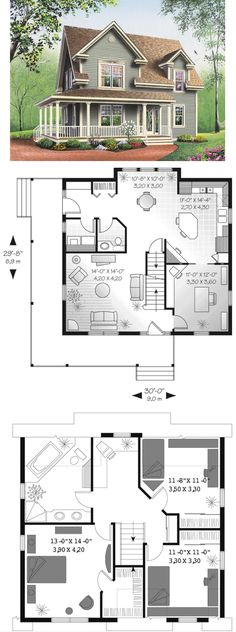 Perfect smaller house ---------- small farmhouse plans with porches | Amberly Bay Farmhouse Plan 032D-0017 | House Plans and More