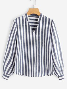 Shop V Neck Striped Blouse online. SHEIN offers V Neck Striped Blouse & more to fit your fashionable needs. Blouse Styles, Blouse Designs, Fall Shirts, Pullover, Blouse Online, Fashion Outfits, Womens Fashion, Blouses For Women, V Neck