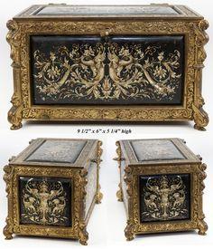 Изысканные Антикварные Ренессанс шкатулка, Коробка, эмалированных панелей, тяжелые бронзовые от антиквариата-редкость-клад на Руби Лейн