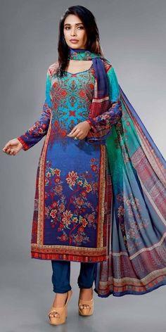 Zealous Blue And Multi-Color Crape Silk Straight Suit With Dupatta.