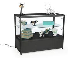 Black Knock Down Display Counter with Base Storage & Sliding Doors for Retail Stores