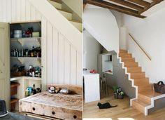 meubles sous escalier dans la cuisine- garde-manger ou kitchentte intégrée