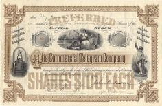 Commercial Telegram Company stock certificate, 1888