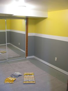 Yellow Grey Room. this would match our bedding really well, but I don't know about the block color, I like just one color walls really.