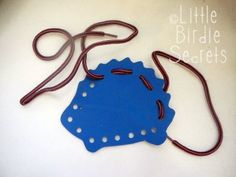 homemade children's lacing cards tutorial - this would be perfect to get kids to sit quietly in church and it strengthens fine motor skills | Little Birdie Secrets