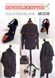 UNIKAT von DOYOULIKEITTOO:Schwarze Pellerina-Bluse mit roten Punkten;Größe S/M, in Kleidung & Accessoires, Damenmode, Blusen, Tops & Shirts | eBay!