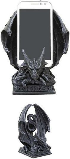 This winged dragon cell phone holder holds most cell phones. Fantasy Dragon, Dragon Art, Dragon Statue, Leather Cell Phone Cases, Dragons, Gothic House, Cell Phone Holder, Mythical Creatures, Cool Stuff