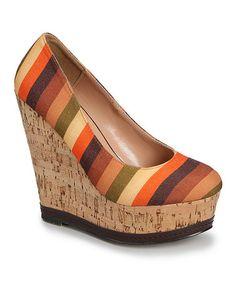 Look at this #zulilyfind! Brown Stripe Febe Wedge #zulilyfinds