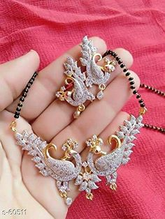 1dbc492c7c American Diamond - Gold Plated Peacock Mangalsutra With Earrings – Dista  Cart Diamond Mangalsutra, Imitation