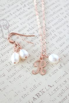 Rose Gold Filled Letter Necklace Earrings