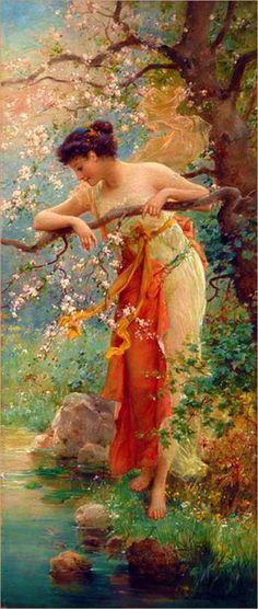 Art painting Hans Zatzka, Spring Beauty , i love this artist beautiful painting . Illustration Art, Illustrations, Pre Raphaelite, Victorian Art, Oil Painting Reproductions, Art Moderne, Fine Art, Beautiful Paintings, Oeuvre D'art