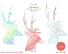 WATERCOLOR DEER HEAD Clipart Commercial Use Clipart by ClipArtBrat