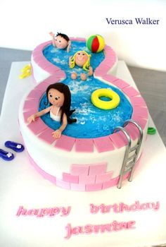 pool cake, fun to rent pool for bday party