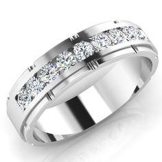 Men's Band 0.66 Ct Natural Diamond Ring Men's Ring Solid 14K White Gold 20.36 #ForeverCarat #Band #Engagement