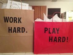 """fun gifts for the hard workin husband. I made 1 bag of things to help him """"Work Hard"""" (professional clothes, tie clip etc), and made 1 bag of things to help him """"Play Hard"""" (tickets to Football game, music etc)."""