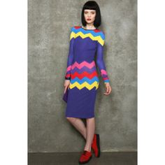 155fd60f80 House of Holland Zig Zag bodycon midi dress. Navy with bold colourful zig  zag stripes