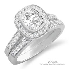 """Say """"YES"""" to this Gorgeous 14K White Gold Cushion Halo Diamond Engagement Ring."""