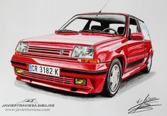 This work looks perfect Super 5 Gt Turbo, Renault 5 Gt Turbo, Urban Sketchers, Car Drawings, Fiat, Cars And Motorcycles, Cool Cars, Super Cars, Vehicles