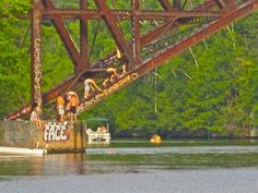 Menominee River,  Train Bridge Michigan.  Hang out place!   By Honey Bee