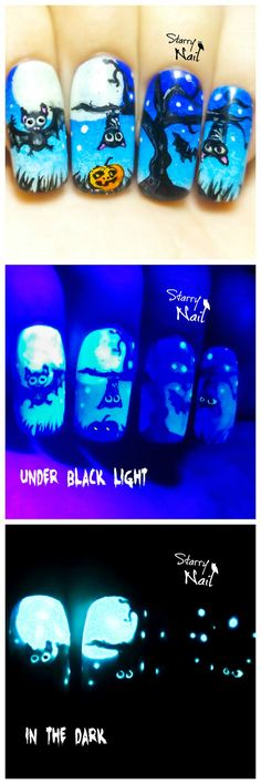 nice Halloween Cute Bats ⎮ Glow in the Dark Freehand Nail Art Tutorial