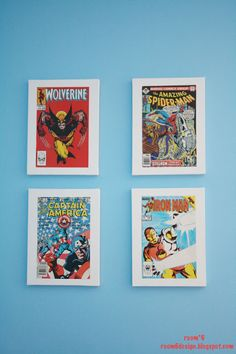 mod podged comic book covers on 9x12 canvas