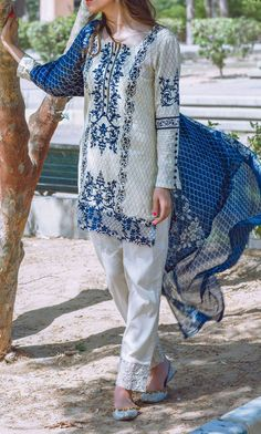 Buy Off-White Embroidered Cotton Lawn Dress by Alkaram 2016 Contact: 702-7513523 Email: info@pakrobe.com Skype: PakRobe