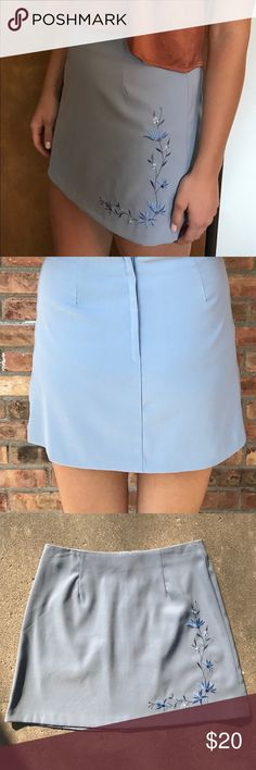 90's Vintage Floral Embroidered Blue Mini Skirt 90's Vintage Floral Embroidered Baby Blue Mini Skirt - excellent condition - very versatile- the skirt is a size 9 but fits me and I normally wear sizes between 2-6. I'd say it seems closest to a size 4. A. BYER California Skirts Mini