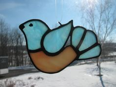 Little Bluebird Suncatcher by StainedGlassByBev on Etsy