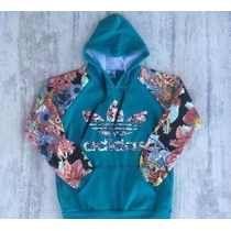 30b81a7f00e Blusa Moletom Adidas Inspired Floral. (frete Grátis)