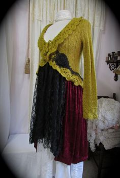 Long+Bohemian+Sweater+shabby+bohemian+gypsy+sweater+by+GrandmaDede,+$70.00
