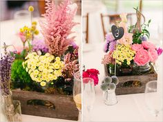jars of casual florals grouped by variety and clustered in a crate - shown for a wedding but great for many occasions