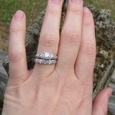 Vintage 1940s White Gold Diamond Engagement Ring Wedding by Addy, £750.00