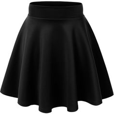 MBJ Womens Basic Versatile Stretchy Flared Skater Skirt Made in USA ($15) ❤ liked on Polyvore featuring skirts, bottoms, black, saias, flared hem skirt, flare skirt, stretch skirts, flared skirt and circle skirt