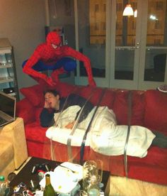 Spiderman is kind of a dick roommate.... Oh man I want to do this to someone