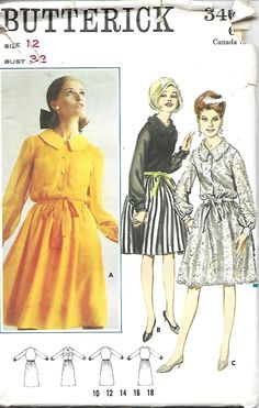 1960's Butterick 3461 Misses Shirt Dress Sewing Pattern, Size 12, Bust 32, UNCUT by DawnsDesignBoutique on Etsy