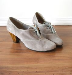 vintage Grey Suede Lace Up Booties / Wood Stacked by AliyaAndLucas, $42.00