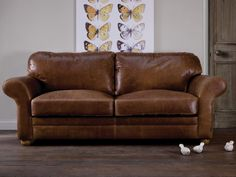 The Curved Arm Brown Leather Sofa by Indigo Furniture Leather Sofas Uk, Vintage Leather Sofa, Vintage Sofa, Vintage Furniture, Brown And Cream Living Room, Brown Couch Living Room, Living Room On A Budget, Living Rooms, Indigo Furniture